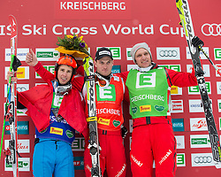 25.01.2014, Kreischberg, St. Georgen, AUT, Ski Cross Weltcup, Podium, im Bild v.l.n.r. Johannes Rohrweck (AUT, 2. Platz), Alex Fiva (SUI, 1. Platz), Michael Schmid (SUI, 3. Platz) // f.l.t.r. 2nd place Johannes Rohrweck of Austria, 1st place Alex Fiva of Switzerland, 3rd place Michael Schmid of Switzerland during the Winner award Ceremony of FIS Ski Cross World Cup at the Kreischberg in St. Georgen, Austria on 2014/01/25. EXPA Pictures © 2014, PhotoCredit: EXPA/ Johann Groder
