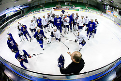 Assistant coach Dany Gelinas with players at first practice of Slovenian National Ice hockey team before World championship of Division I - group B in Ljubljana, on April 5, 2010, in Hala Tivoli, Ljubljana, Slovenia.  (Photo by Vid Ponikvar / Sportida)