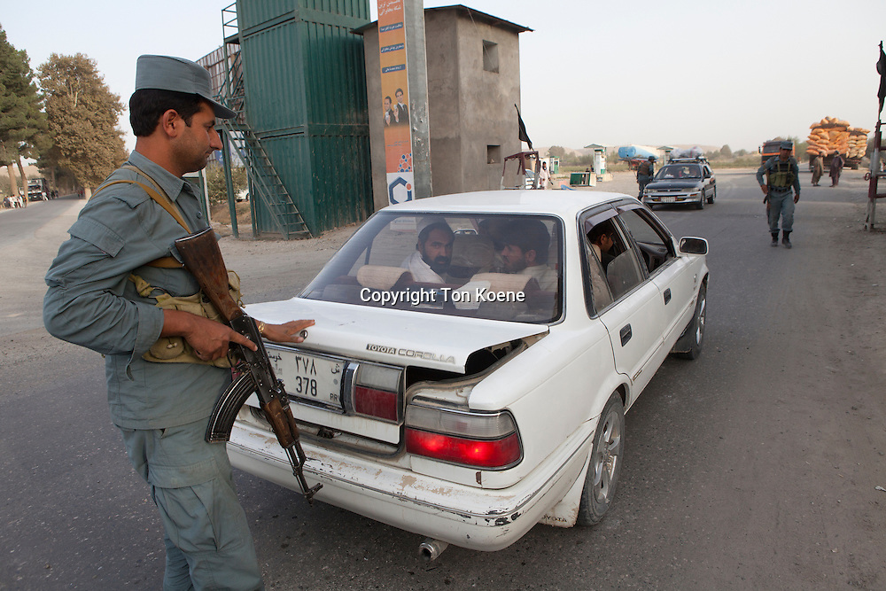 Afghan national Police officer on duty in Kunduz, Afghanistan.