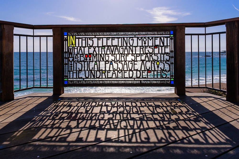 """Brown's Park, Stained glass railing by Joe Brown """"In this fleeting moment what extravagant respite<br /> as booming surf speaks its mystical passage across the undreamed depths"""" Laguna Beach, California"""