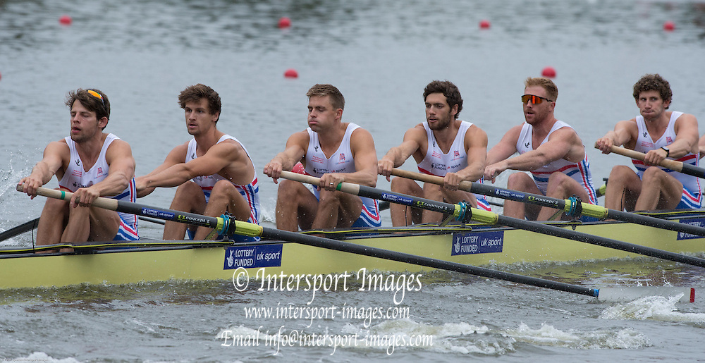Amsterdam. NETHERLANDS. right to left.  Matthew TARRANT, Will SATCH, Matthew GOTREL, Pete REED, Paul BENNETT, Tom RANSLEY. 2014 FISA  World Rowing. Championships.  De Bosbaan Rowing Course . 17:33:32  Monday  25/08/2014  [Mandatory Credit; Peter Spurrier/Intersport-images]