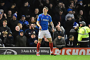Caption correction - Goal - James Bolton (13) of Portsmouth celebrates after Ronan Curtis (11) of Portsmouth scores a goal to give a 1-0 lead during the EFL Sky Bet League 1 match between Portsmouth and Ipswich Town at Fratton Park, Portsmouth, England on 21 December 2019.
