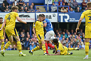 Portsmouth Midfielder, Gareth Evans (26) unable to control the ball in the box during the EFL Sky Bet League 1 match between Portsmouth and Oxford United at Fratton Park, Portsmouth, England on 18 August 2018.