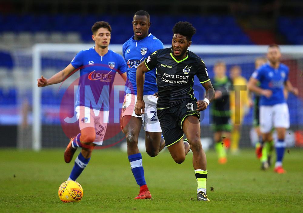 Ellis Harrison of Bristol Rovers goes past Ousmane Fane of Oldham Athletic - Mandatory by-line: Robbie Stephenson/JMP - 30/12/2017 - FOOTBALL - Sportsdirect.com Park - Oldham, England - Oldham Athletic v Bristol Rovers - Sky Bet League One