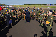 New Windsor, New York - Maj. William Martin, at right, talks to members of the Catskill Mountain Group of the Civil Air Patrol on the first day of the New York Air Show at Stewart International Airport on Aug. 29, 2015. ©Tom Bushey / The Image Works
