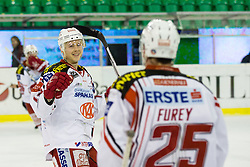 17.02.2015, Hala Tivoli, Ljubljana, SLO, EBEL, HDD Telemach Olimpija Ljubljana vs EC KAC, 4. Qualification Round, in picture Kim Strömberg (EC KAC, #17) and Kirk Furey (EC KAC, #17) celebrate during the Erste Bank Icehockey League 4. Qualification Round between HDD Telemach Olimpija Ljubljana and EC KAC at the Hala Tivoli, Ljubljana, Slovenia on 2015/02/17. Photo by Morgan Kristan / Sportida