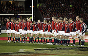 The Lions squad line up for the teams anthems during the 1st test match between the New Zealand All Blacks and the British and Irish Lions at Jade Stadium in Christchurch, New Zealand on Saturday 25 June, 2005. The All Blacks won 21-3. Photo: Anthony Phelps/PHOTOSPORT<br />