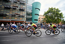 The peloton sweep through the streets of Adelaide during Stage 4 of 2020 Santos Women's Tour Down Under, a 42.5 km road race in Adelaide, Australia on January 19, 2020. Photo by Sean Robinson/velofocus.com