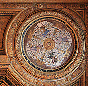 Decorative ceiling panel by Charles Errard, c. 1660, in the bedroom of Anne of Austria, 1601-66, wife of King Louis XIII, Chateau de Fontainebleau, France. The Palace of Fontainebleau is one of the largest French royal palaces and was begun in the early 16th century for Francois I. It was listed as a UNESCO World Heritage Site in 1981. Picture by Manuel Cohen