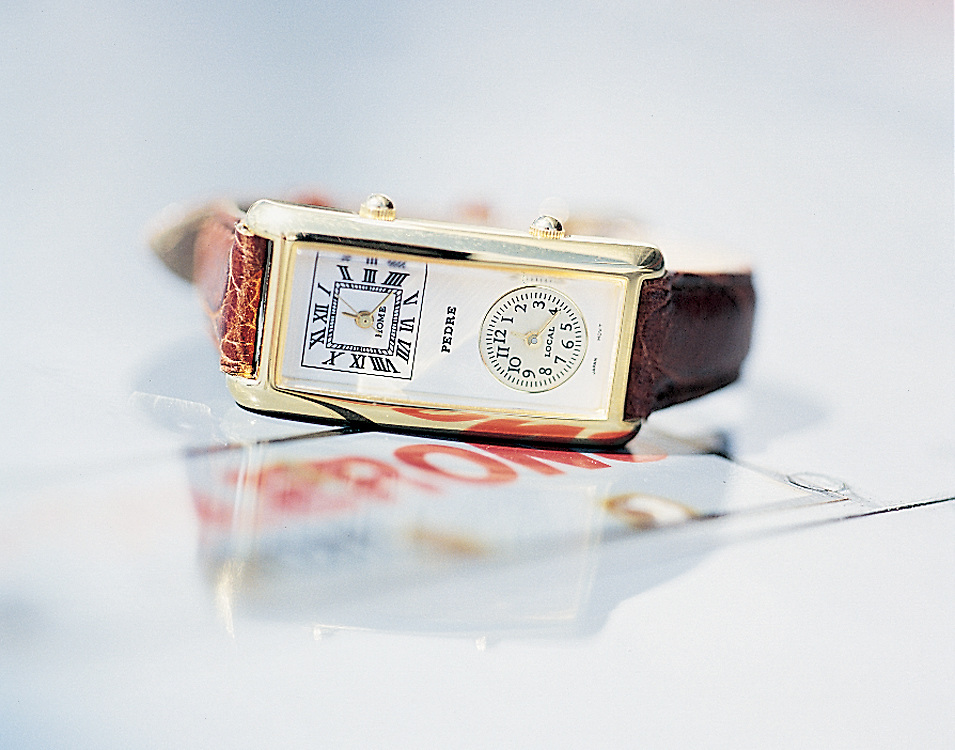We photographed this classic watch with dual timezones on the wing of an aircraft for Chrales Keath.