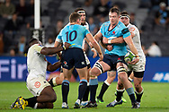 SYDNEY, AUSTRALIA - APRIL 27: Waratahs player Jed Holloway (4) looks to get the pass away at round 11 of Super Rugby between NSW Waratahs and Sharks on April 27, 2019 at Western Sydney Stadium in NSW, Australia. (Photo by Speed Media/Icon Sportswire)