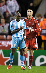 Liverpool, England - Wednesday, October 3, 2007: Olympique de Marseille's Djibril Cisse celebrates his side's 1-0 victory over former tean Liverpool - the first time the Reds have ever lost at home to a French team - during the UEFA Champions League Group A match at Anfield. (Photo by David Rawcliffe/Propaganda)