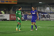 AFC Wimbledon goalkeeper James Shea (1) and AFC Wimbledon defender Paul Robinson (6) talk tactics during the The Emirates FA Cup 1st Round Replay match between AFC Wimbledon and Bury at the Cherry Red Records Stadium, Kingston, England on 15 November 2016. Photo by Stuart Butcher.