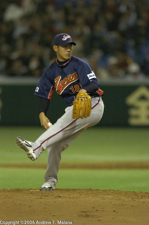 Team Japan starter Daisuke Matsuzaka throws a pitch against Team Chinese Taipei during the World Baseball Classic at Tokyo Dome, Tokyo, Japan.