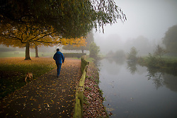 © Licensed to London News Pictures. 31/10/2016. Godalming, UK. Early morning fog next to The River Wey in Godalming.  Photo credit: Peter Macdiarmid/LNP