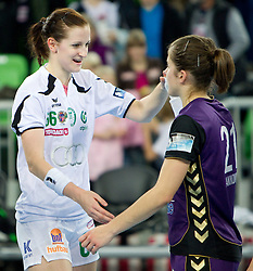 Ana Gros of Gyori and Alja Jankovic of Krim after the handball match between RK Krim Mercator (SLO) and Gyori Audi Eto KC (HUN) in 3rd Round of Women's Champions league, on October 23, 2010 at SRC Stozice, Ljubljana, Slovenia. Gyori defeated Krim 34 - 30. (Photo By Vid Ponikvar / Sportida.com)