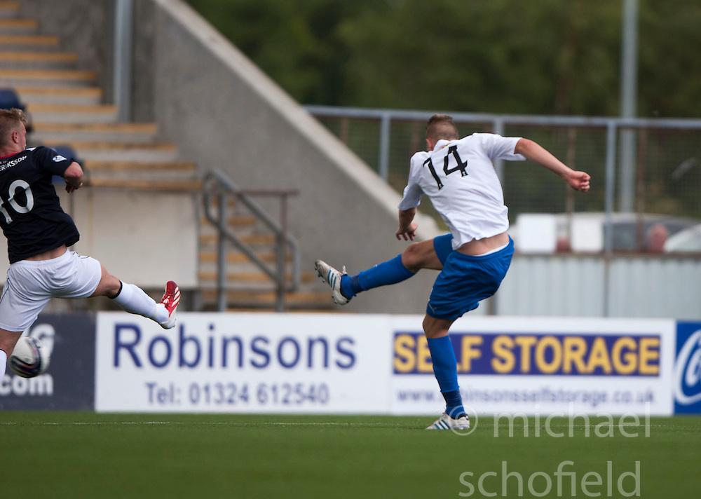 Morton's Reece Hands scoring their goal.<br /> Falkirk 3 v 1 Morton, Scottish Championship 17/8/2013.<br /> &copy;Michael Schofield.