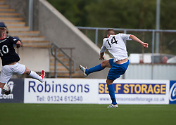 Morton's Reece Hands scoring their goal.<br />