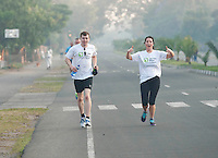 24/11/2013 repro free Stuart Wilson  from Belturbet Co. Cavan and Grace Fleming from Bweeng, Mallow, Co Cork taking part in the Great Ethiopian run in Hawassa as opposed to the Capital Addis Ababa due to a security threat, part of a group of 20 from Ireland who ran the race in aid of Self Help Africa. Photo:Andrew Downes