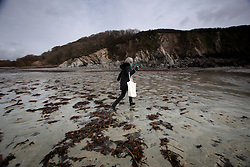 UK ENGLAND FOWEY 20FEB15 - Writer Tatiana De Rosnay walks on the beach near Gribbin Head near Fowey in Cornwall, England. <br /> <br /> Famous English novelist Daphne Du Maurier used to come here to daily swims in the sea whilst living at the nearby Menabilly estate.<br /> <br /> Fowey, a small fishing and harbour village was the living place of famous English writer Daphne Du Maurier and many of her novels are based here.<br /> <br /> jre/Photo by Jiri Rezac<br /> <br /> © Jiri Rezac 2015