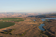 Aerial view over Milbrandt Vineyards, Ancient Lakes AVA, near Quincy, central Washington