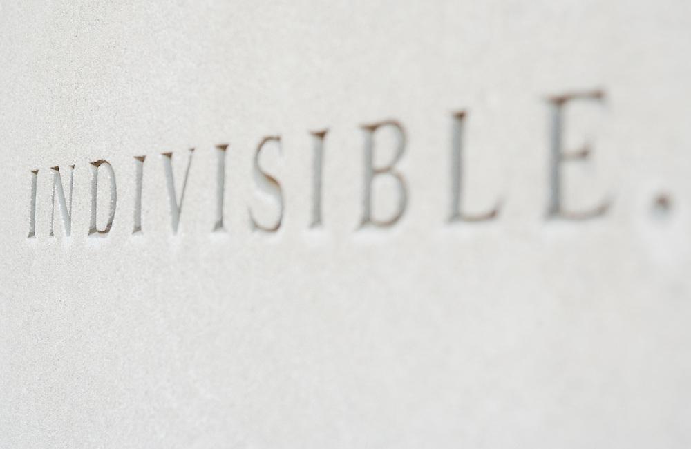 The word Indivisible engraved on wall Washington DC USA&#xA;<br />
