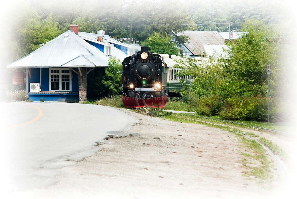 Steam engine leaving the train station in Wakefield, Quebec.