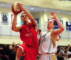 Bristol Academy Flyers' Roy Owen shoots - Photo mandatory by-line: Dougie Allward/JMP - Tel: Mobile: 07966 386802 23/03/2013 - SPORT - Basketball - WISE Basketball Arena - SGS College - Bristol -  Bristol Academy Flyers V Essex Leopards