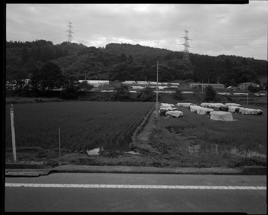 Namie,  Fukushima   decontamination, site  on route 114 near Nagadoro Iitate, Fukushima.<br /> Levels in sections of Namie are even higher then many areas inside the  mandatory evacuation zone. Fukushima  Contaminated Evacuation