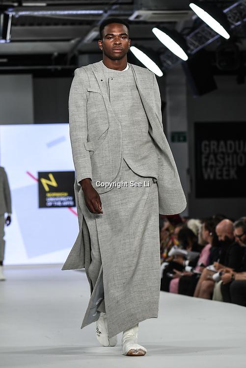 Designer Bryan Wan at the Best of Graduate Fashion Week showcases at the Graduate Fashion Week 2018, June 6 2018 at Truman Brewery, London, UK.