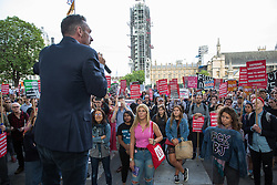 London, UK. 2 September, 2019. Journalist Paul Mason addresses hundreds of people attending a 'Stop the Coup' protest in Parliament Square following Prime Minister Boris Johnson's address to the nation outside 10 Downing Street to the effect that there will be a vote on a general election if MPs vote for a further delay to Brexit.