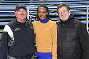 Dalilah Muhammad (USA), center, poses with Scott King (left) and Don Frankens, Monday, Dec. 16, 2019, in Lake Balboa, Calif. Muhammad, the world record holder in the 400m hurdles at 52.16 seconds. is the 2019 IAAF World Championships and 2016 Rio Olympics gold medalist. She is only the second female 400-meter hurdler in history, after Sally Gunnell, to have won the Olympic and World titles and broken the world record.