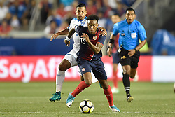 July 7, 2017 - Harrison, New Jersey, U.S - Costa Rica midfielder RODNEY WALLACE (13) takes the ball upfield during CONCACAF Gold Cup 2017 action at Red Bull Arena in Harrison New Jersey Costa Rica defeats Honduras 1 to 0. (Credit Image: © Brooks Von Arx via ZUMA Wire)