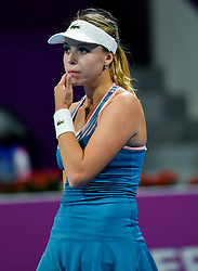 DOHA, Feb. 14, 2019  Anett Kontaveit of Estonia reacts during the women's singles second round match between Angelique Kerber of Germany and Anett Kontaveit of Estonia at the 2019 WTA Qatar Open in Doha, Qatar, Feb. 13, 2019. Anett Kontaveit lost 0-2. (Credit Image: © Nikku/Xinhua via ZUMA Wire)