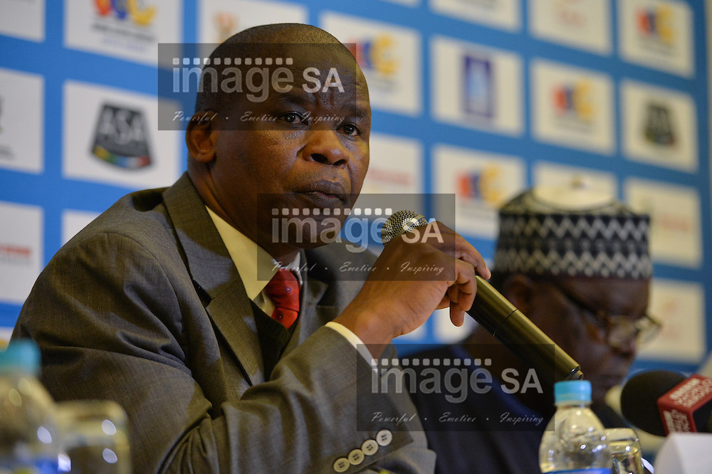 DURBAN, SOUTH AFRICA - JUNE 21: Mr Aleck Skhosana, President of Athletics South Africa during the pre CAA 20th African Senior Championships press conference at the Maharani Hotel on June 21, 2016 in Durban, South Africa. (Photo by Roger Sedres/Gallo Images)