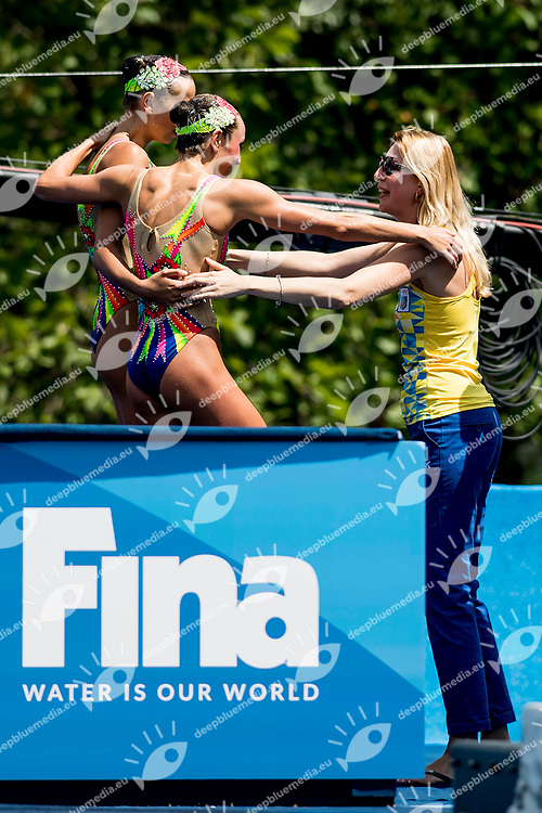 VOLOSHYNA Anna, YAKHNO Yelyzaveta UKR<br /> Women's Duet Technical Final Technical Routine Bronze Medal<br /> Synchronised Swimming, Synchro<br /> Day 03 16/07/2017 <br /> XVII FINA World Championships Aquatics<br /> City Park - Varosliget Lake<br /> Budapest Hungary July 14th - 30th 2017 <br /> Photo @ A.Masini/Deepbluemedia/Insidefoto