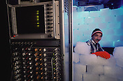 Hypothermia Research: Dr. Robert S. Pozos, Director of the Hypothermia Research Lab at the University of Minnesota Hypothermia in Duluth. (Blocks of ice brought in for photo.) MODEL RELEASED [1988]