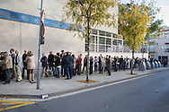 Early in the morning, many people has been waiting in front of the schools for vote before the schools have opened. 1.317 special places have been enabled for the voting process. Place: Mataro city center. The 9th of November, 9N has been a special date in Catalonia where catalan people have participated in a voting process polling on the independence of Catalonia. More than 2 million people have participated, although Spain's Constitutional court suspended the referendum secession plan for this date. Photo: Eva Parey  NO SALES IN SPAIN