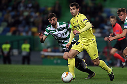 February 14, 2019 - Lisbon, Portugal - Villarreal's midfielder Manu Trigueros (R ) vies with Sporting's midfielder Bruno Fernandes from Portugal during the UEFA Europa League Round of 32 First Leg football match Sporting CP vs Villarreal CF at Alvalade stadium in Lisbon, Portugal on February 14, 2019. (Credit Image: © Pedro Fiuza/NurPhoto via ZUMA Press)