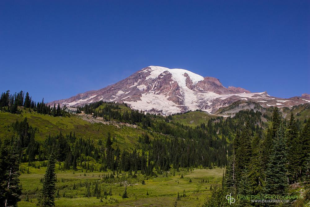 Paradise Lodge on Mt. Rainier on a rare clear sunny cloudless day.