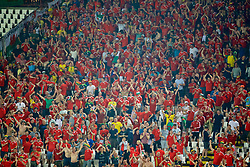 BELGRADE, SERBIA - Sunday, June 11, 2017: Wales supporters celebrate the opening goal against Serbia during the 2018 FIFA World Cup Qualifying Group D match between Wales and Serbia at the Red Star Stadium. (Pic by David Rawcliffe/Propaganda)