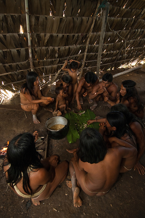 Huaorani eating in their house. The meat is chopped up and placed on banana leaves on the floor.<br /> Bameno Community. Yasuni National Park.<br /> Amazon rainforest, ECUADOR.  South America<br /> This Indian tribe were basically uncontacted until 1956 when missionaries from the Summer Institute of Linguistics made contact with them. However there are still some groups from the tribe that remain uncontacted.  They are known as the Tagaeri &amp; Taromenane. Traditionally these Indians were very hostile and killed many people who tried to enter into their territory. Their territory is in the Yasuni National Park which is now also being exploited for oil.
