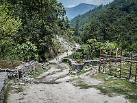 Along the road built on the Annapurna Trail, Nepal.