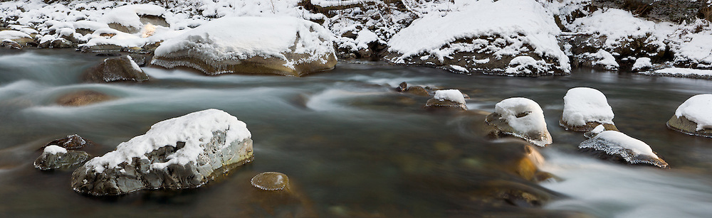 Winter on the Chilliwack River near Chilliwack Lake Provincial Park in Chilliwack, British Columbia, Canada