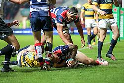 Max Crumpton of Bristol Rugby scores a try - Rogan Thomson/JMP - 14/10/2016 - RUGBY UNION - Ashton Gate Stadium - Bristol, England - Bristol Rugby v Saracens - EPCR Challenge Cup.