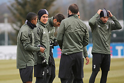March 6, 2018 - Vinovo, Piedmont, Italy - Paulo Dybala (Juventus FC) with teammates during the training on the eve of the second leg of the Round 16 of the UEFA Champions League 2017/18 between Juventus FC and Tottenham Hotspur FC at Juventus Training Center on 06 March, 2018 in Vinovo (Turin), Italy. (Credit Image: © Massimiliano Ferraro/NurPhoto via ZUMA Press)