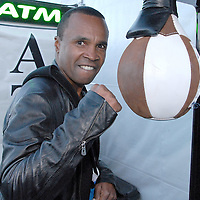 Former Welterweight and Middleweight boxing champion Sugar Ray Leonard hits the speed bag during ``Big Fighters, Big Cause'' charity boxing event at the Santa Monica Pier on Tuesday, May 25, 2010