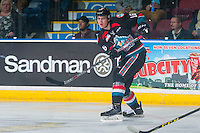 KELOWNA, CANADA - OCTOBER 26: Kole Lind #16 of the Kelowna Rockets passes the puck against the Victoria Royals on October 26, 2016 at Prospera Place in Kelowna, British Columbia, Canada.  (Photo by Marissa Baecker/Shoot the Breeze)  *** Local Caption ***