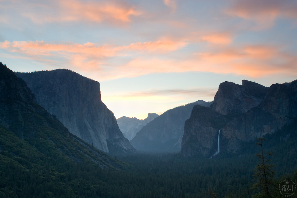 """Sunrise at Yosemite""- This sunrise was photographed from the popular Tunnel View vista area."