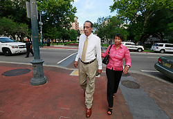 09 July 2014. New Orleans, Louisiana. <br /> Former mayor of New Orleans Ray Nagin's father and sister arrive at Federal Court to hear the sentencing portion of Ray Nagin's trial. Nagin was sentenced to serve 10 years in prison for bribery and money laundering. <br /> Photo; Charlie Varley/varleypix.com